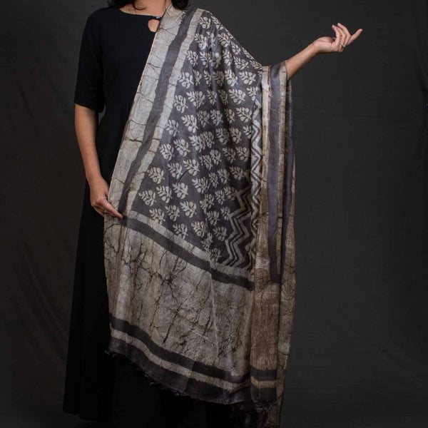 Steel Grey Colour Dabu Print Tussar Dupatta