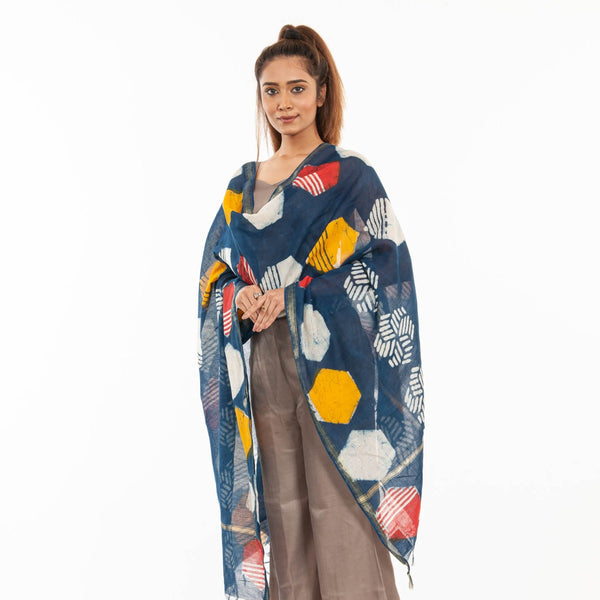 Indigo Colour Geometric Print Cotton Dupatta