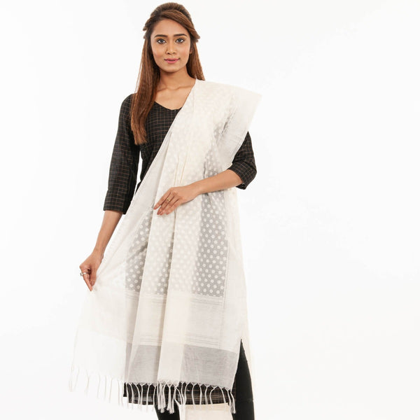 Dyeable Off White Colour Leaves Print Chanderi Dupatta