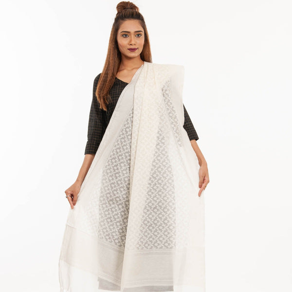 Dyeable Off White Colour Floral Jaal Print Chanderi Dupatta