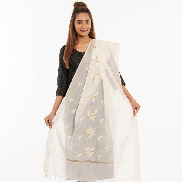 Dyeable Off White Colour Leaves Machine Embroidered Chanderi Dupatta