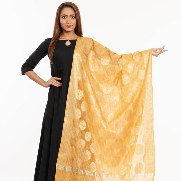 Yellow Colour Mughal Print Chanderi Feel Dupatta