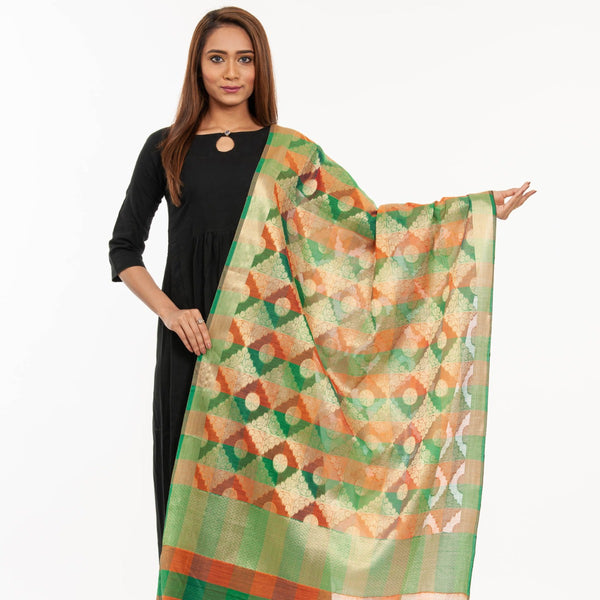 Green Colour Mughal Print Chanderi Feel Dupatta