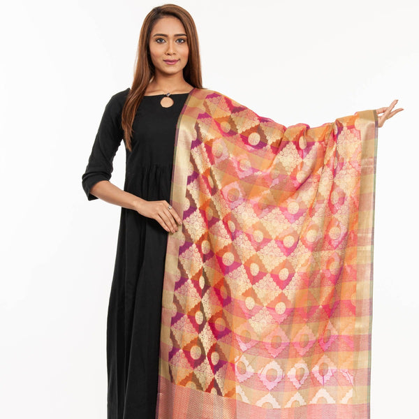 Pink Colour Mughal Print Chanderi Feel Banarasi Dupatta