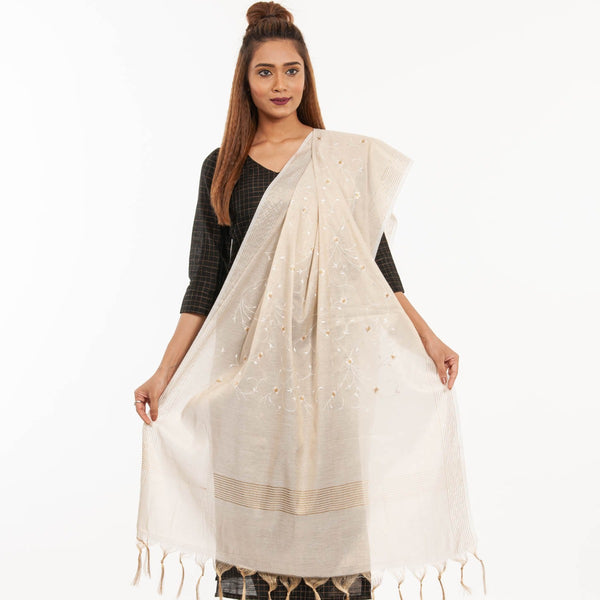 Dyeable Beige Colour Floral Jaal Embroidered Cotton Tissue Dupatta