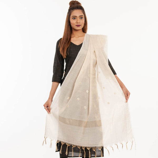 Dyeable Beige Colour Floral Embroidered Cotton Tissue Dupatta