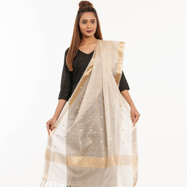 Dyeable Beige Colour Floral Embroidered Kota Zari Checks Dupatta