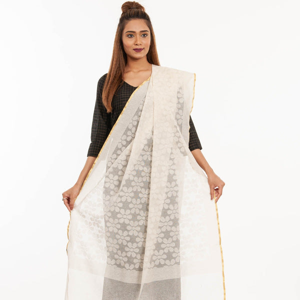 Dyeable Beige Colour Self  Jacquard Noil Cotton Dupatta