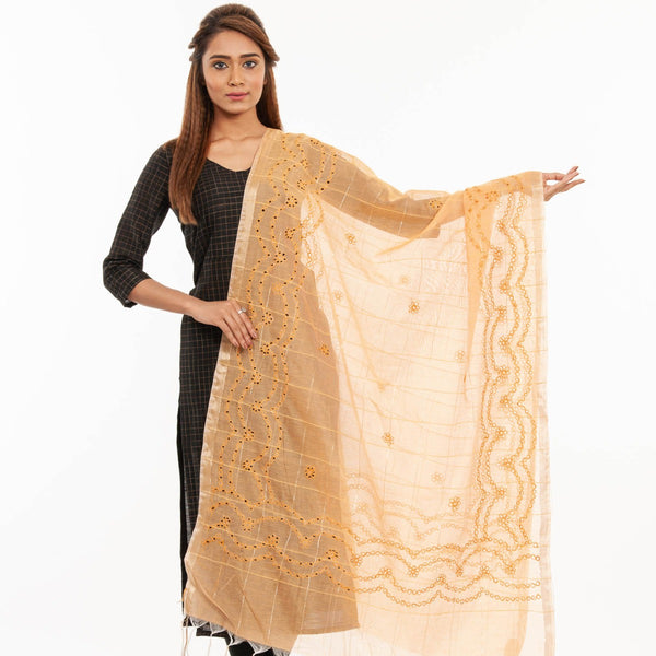 Apricot Orange Colour Floral Butti Embroidered Cut Work Chanderi Feel Dupatta