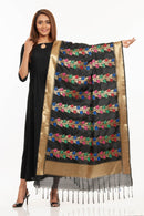 Black Colour Multi Leaves Pattern Banarasi Dupatta