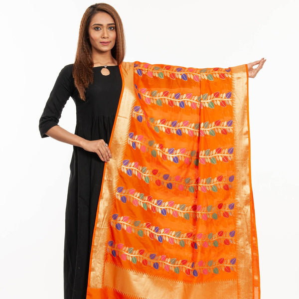 Fanta Orange Colour Multi Leaves Pattern Banarasi Dupatta