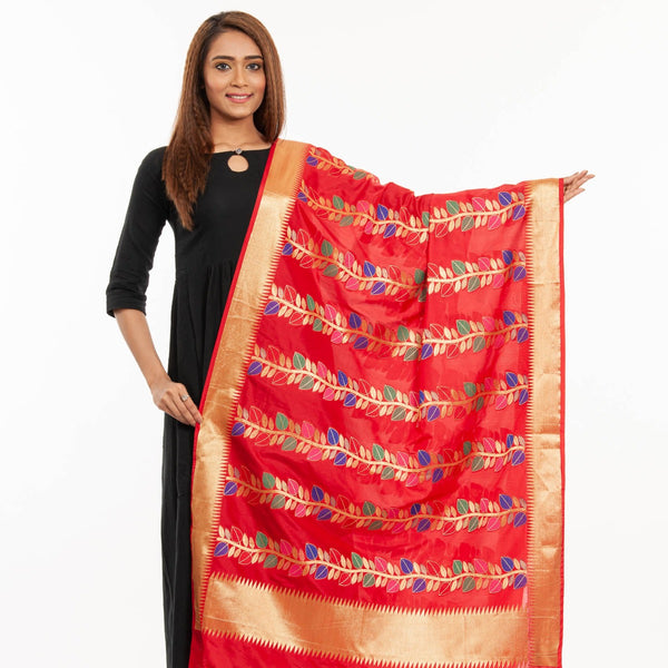 Red Colour Multi Leaves Pattern Banarasi Dupatta