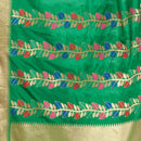 Green Colour Multi Leaves Pattern Banarasi Dupatta