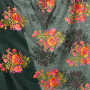 Bottle Green Colour Floral Embroidered Gold Zari Border Chanderi Feel Dupatta