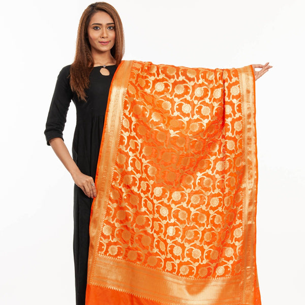 Fanta Orange Colour Art Silk Gold Foil Print Banarasi Dupatta