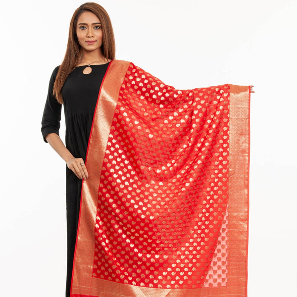Red Colour Gold Foil Print Art Silk Banarasi Dupatta