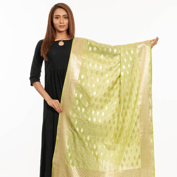 Pista Green Colour Gold Foil Print Art Silk Banarasi Dupatta