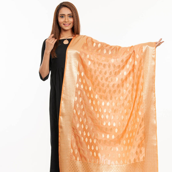 Peach Colour Gold Foil Print Art Silk Banarasi Dupatta