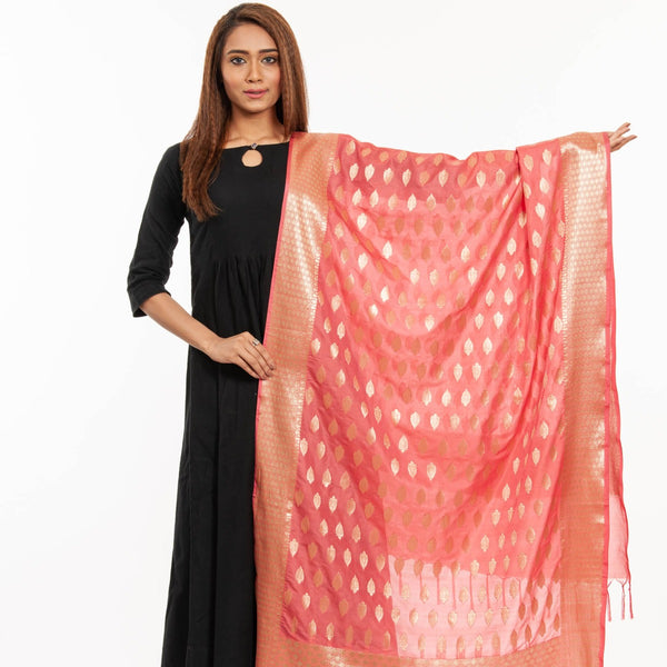 Carrot Pink Colour Gold Foil Print Art Silk Banarasi Dupatta