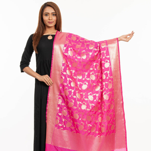 Hot Pink Colour Art Silk Gold Foil Print Banarasi Dupatta