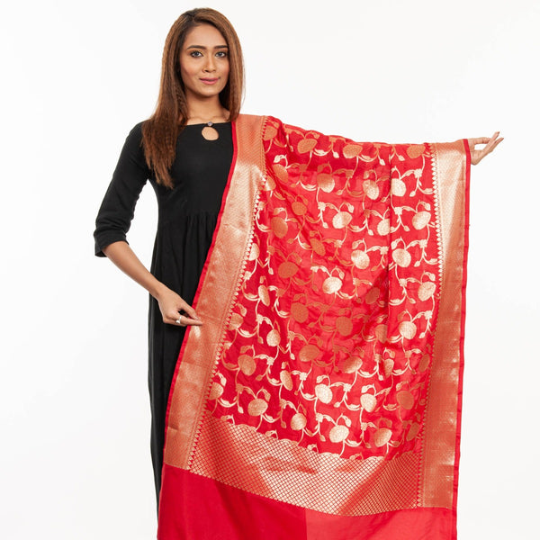 Red Colour Art Silk Gold Foil Print Banarasi Dupatta