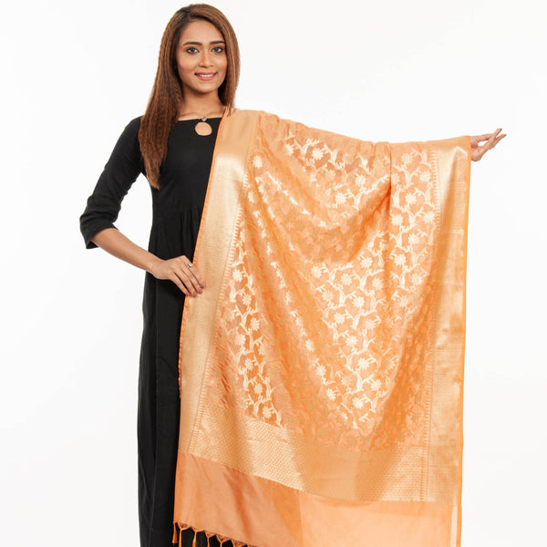 Peach Colour Art Silk Gold Foil Print Banarasi Dupatta