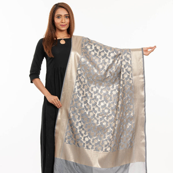 Grey Colour Art Silk Gold Foil Print Banarasi Dupatta