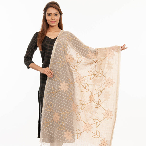 Beige Colour Applique Laid & Couching Embroidered Chanderi Feel Banarasi Dupatta