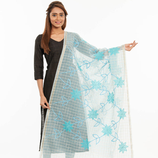 Baby Blue Colour Applique Laid & Couching Embroidered Chanderi Feel Banarasi Dupatta