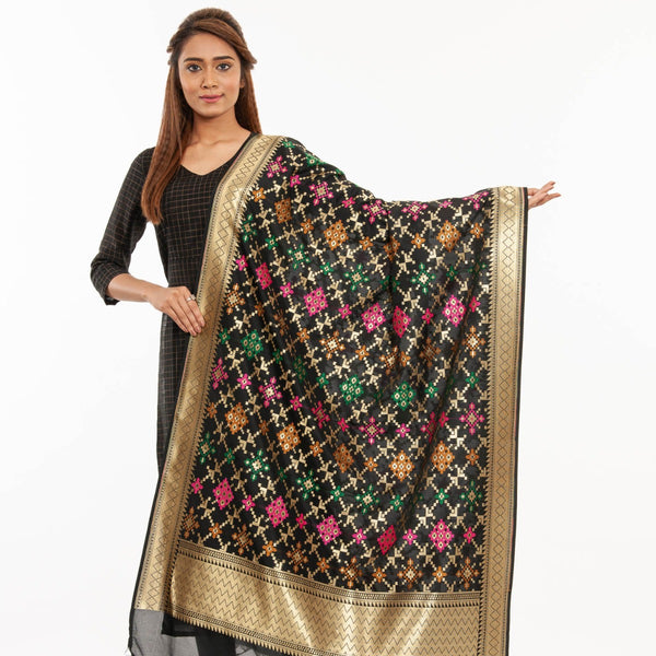 Black Colour Gold Floral Print Katan Silk Type Banarasi Dupatta