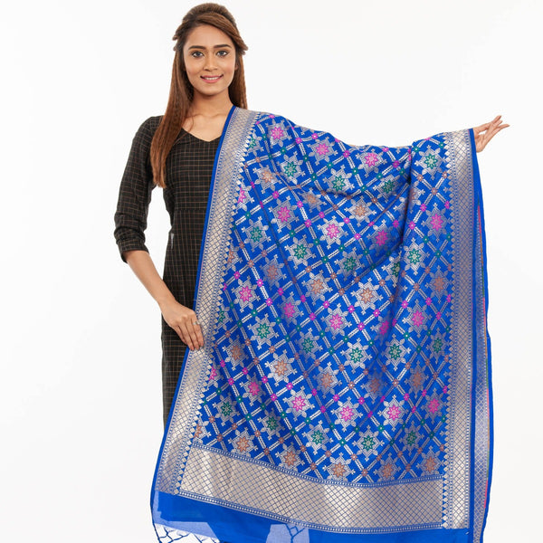 Royal Blue Colour Gold Floral Print Katan Silk Type Banarasi Dupatta