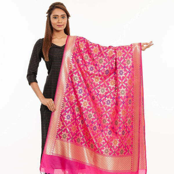 Hot Pink Colour Gold Floral Print Katan Silk Type Banarasi Dupatta