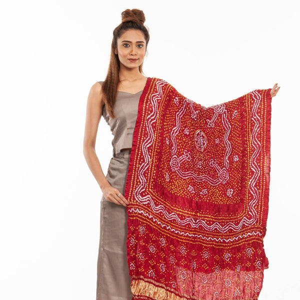 Maroon Colour Authentic Bandhej With Lagdi Patta Gaji Silk Dupatta