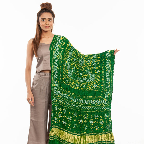 Green Colour Authentic Bandhej With Lagdi Patta Gaji Silk Dupatta