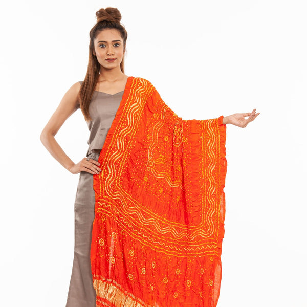 Fanta Orange Colour Authentic Bandhej With Lagdi Patta Gaji Silk Dupatta