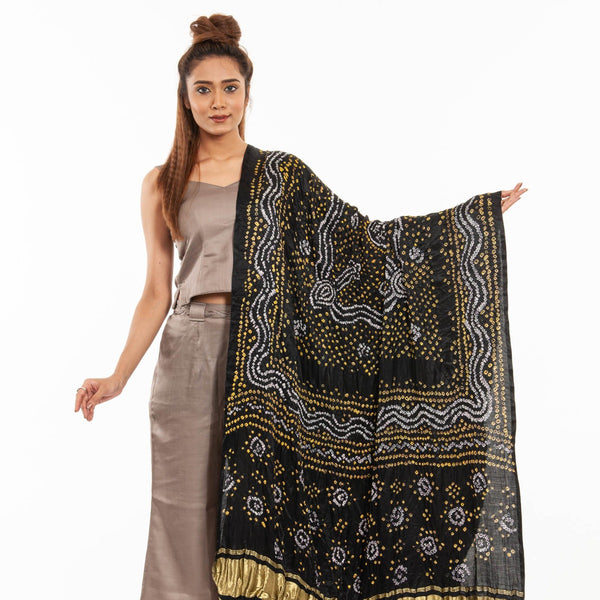 Black Colour Authentic Bandhej With Lagdi Patta Gaji Silk Dupatta