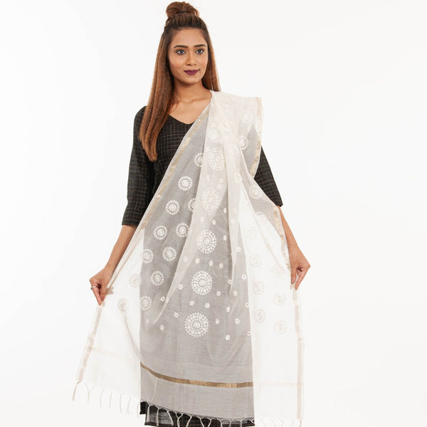 Dyeable Mughal Embroidered  Chanderi Feel Dupatta