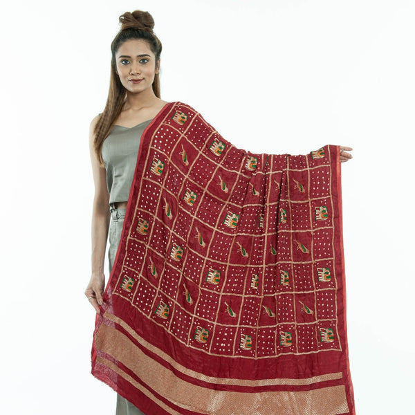 Maroon Colour Gold Zari Border Bandhej Gaji Silk Dupatta
