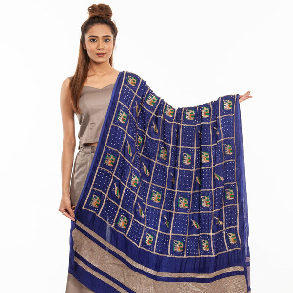 Violet Colour Gold Zari Border Bandhej Gaji Silk Dupatta
