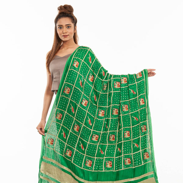 Green Colour Gold Zari Border Bandhej Gaji Silk Dupatta