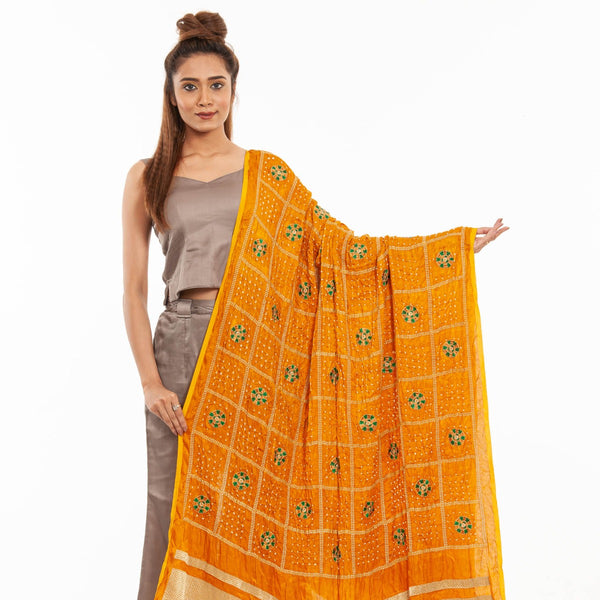 Mustard Colour Gold Zari Border Bandhej Gaji Silk Dupatta