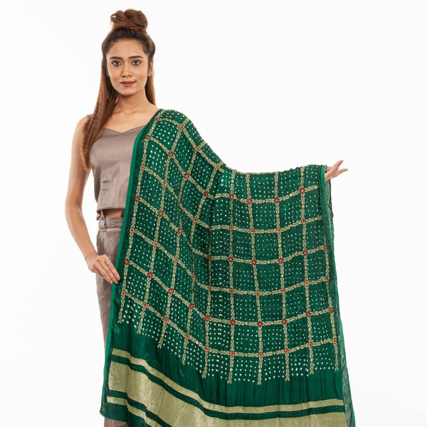 Bottle Green Colour Gold Zari Border Bandhej Gaji Silk Dupatta