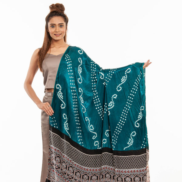 Peacock Green Colour Bandhej With Ajarakh Print Gaji Dupatta