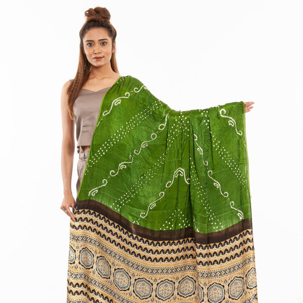 Moss Green Colour Bandhej With Ajarakh Print Gaji Dupatta
