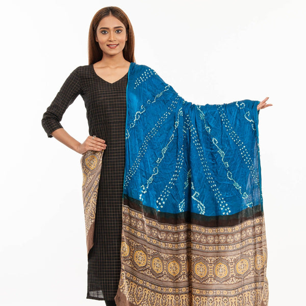 Teal Blue Colour Bandhej With Ajarakh Print Gaji Dupatta