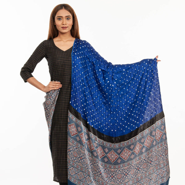 Royal Blue Colour Bandhej With Ajarakh Print Gaji Dupatta
