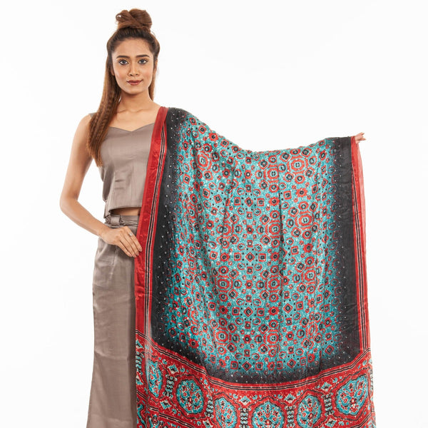 Turquoise Colour Artificial Mirror Work Digital Print Gaji Dupatta
