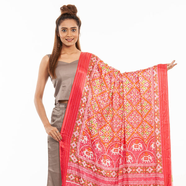 Candy Pink Colour Artificial Mirror Work Digital Print Gaji Dupatta