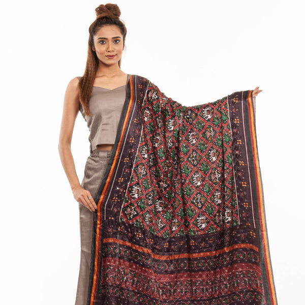 Black Colour Artificial Mirror Work Digital Print Gaji Dupatta