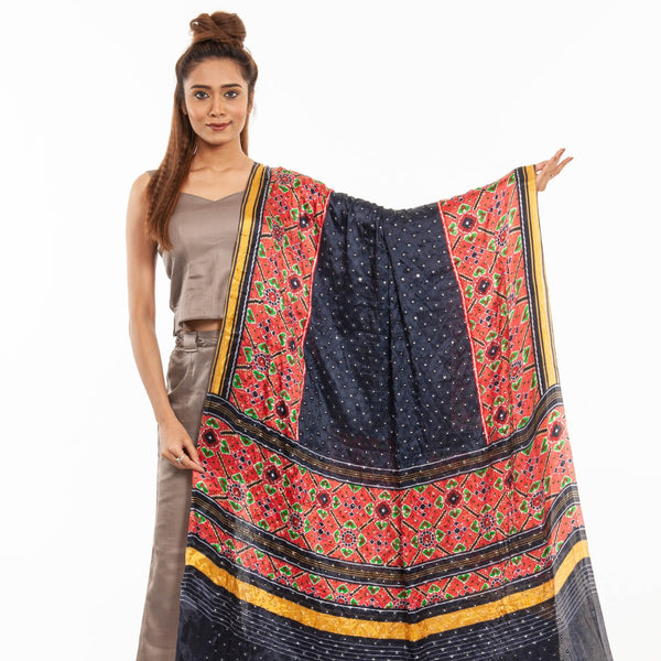 Midnight Blue Colour Artificial Mirror Work Gaji Dupatta